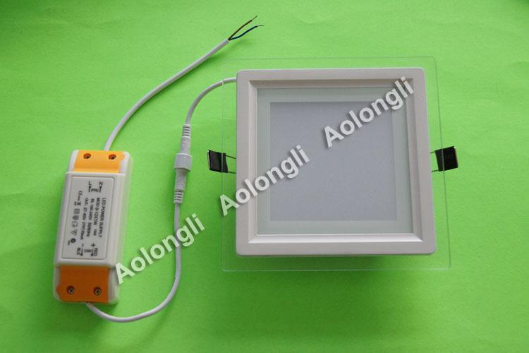 12W llevó la luz del panel SMD 5730 24 Leds empotrado Downlights Luz de techo de cristal cuadrado Blanco cálida luz de LED AC100-240V con el CE ROHS