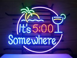 Wholesale Real Neon Bar Lights - NEW ITS 500 SOMEWHERE MARGARITAVILLE BUFFETT REAL NEON BEER BAR PUB LIGHT SIGN