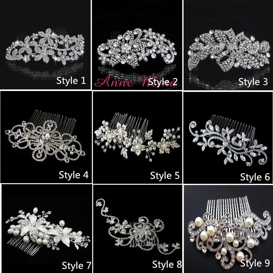 Hair accessories wedding cheap - In Stock 9 Style Bride Hair Combs Bling Jewelry Pearls Flower Wedding Hair Brush Wedding Hair Accessories With Crystal No 132 Fascinators Headbands From