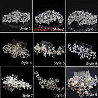 Wholesale rhinestone hair comb wedding - In Stock 9 Style Bride Hair combs Bling Jewelry Pearls Flower Wedding Hair Brush wedding hair accessories With Crystal NO.132