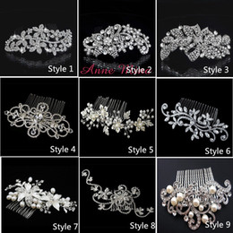 Wholesale Lace Bling Rhinestones - In Stock 9 Style Bride Hair combs Bling Jewelry Pearls Flower Wedding Hair Brush wedding hair accessories With Crystal NO.132