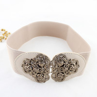 Wholesale Ladies Waistband Belts - New Fashion Elastic Stretch Belt For Lady Vintage Flower Buckle With Gold Color Decoration Waistband Belt