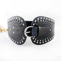 Wholesale Black Belts Elastic Stretch - New Fashion Elastic Stretch Belt For Lady PU Leather Pin Buckle Wide Belt For Women