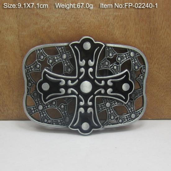 BuckleHome cross belt buckle with pewter plating FP-02240-1