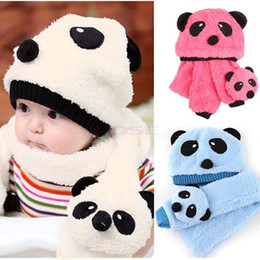 Wholesale Winter Kids Panda Hat - Autumn Winter Children's Hat Scarf Set Baby Boy Girl Animal Panda Wool Hats Kids Crochet Beanie Cap Velvet Ear Muff Cap 18499