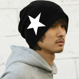 Wholesale Pattern For Beanie - Fashion 5 Colors Acrylic Knitted Moustache Star Pattern Hip Hop Casual Baggy Beanie Cap Elastic Hat For Women
