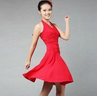 Wholesale Dance Ballroom Dress Costume - New Fashion Black Red Halter V Neck Backless Women Latin Rumba Tango Dance Slim Skirt Costume Ballroom Dancing party Dress tl052