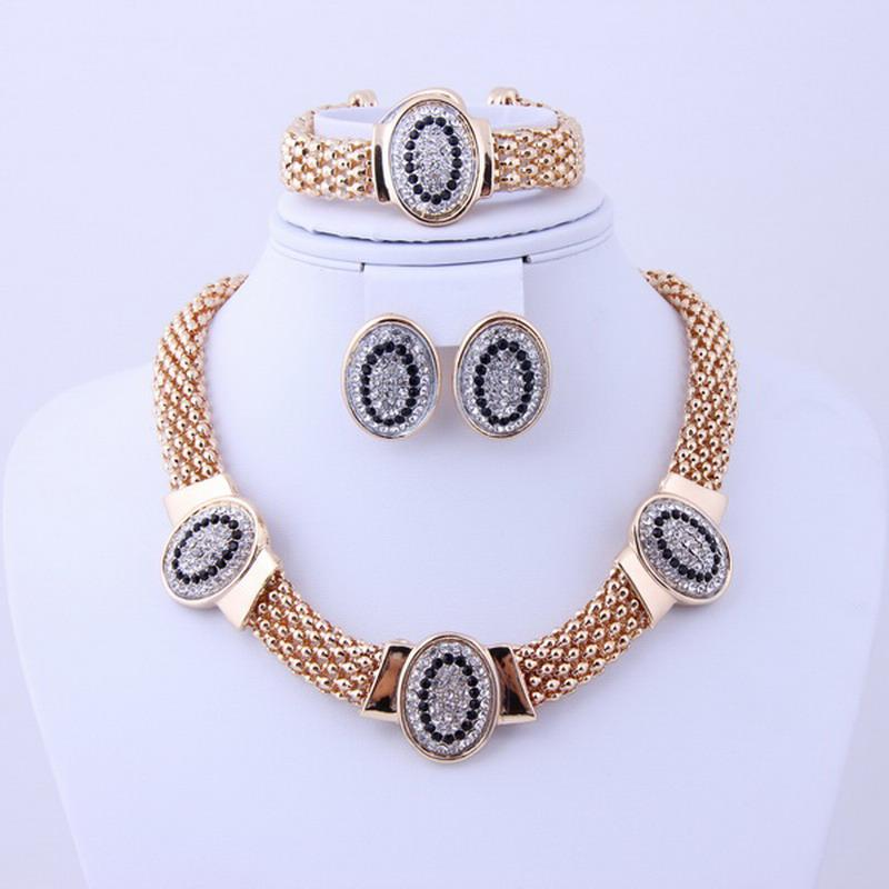2018 Wedding Gold Silver Jewelry Sets Dubai Bridal Gold Plated