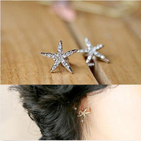 Wholesale Starfish Rhinestones - Promotion~48pcs Cute Full Diamond Starfish Earrings Fashion Korea Earrings Jewelry Hot Starfish Earring Ear Stud [JE06252*24]