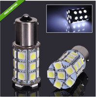 Wholesale T25 Free Shipping - 100pcs lots P21W S25 T25 1156 27SMD 5050 LED bulb car back foglamps brake lights front turn signals free shipping