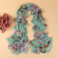Wholesale Yn Wholesale - new fashion style butterfly Scarves women's scarf long shawl spring silk pashmina chiffon infinity scarf YN-168