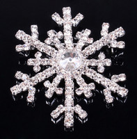 Wholesale Brooch Pin Clip Silver - Christmas snowflake brooch silver rhinestone crystal alloy brooches cartoon Christmas pins clips pin women children party favors gift
