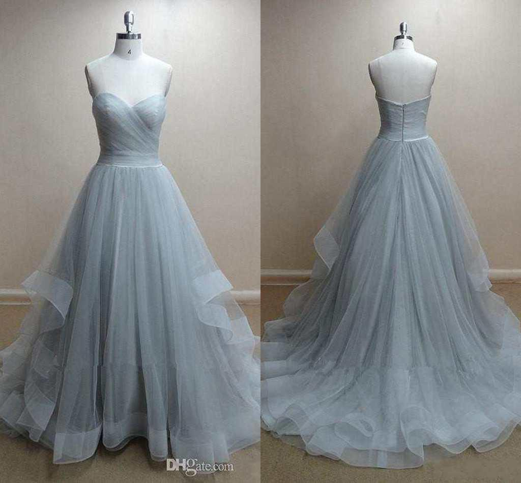 Simple Ball Gown Prom Dresses Sweetheart Pleated Tulle Plus Size ...