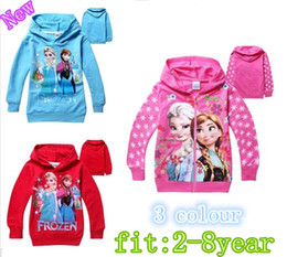 Wholesale Coloured Cotton T Shirts - Retail 2016 Kids FROZEN Elsa Anna Hooded Long Sleeve children Zipper Hoodies T shirt baby girl coat Pink blue red colour QY128