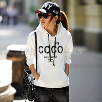 Wholesale Coco Letter - Free Shipping Fashion Womens COCO Letter Printed Casual Hoodies Warm Sweatshirts With Hat 2 Colors 2 Size S~M [2 70-1712]