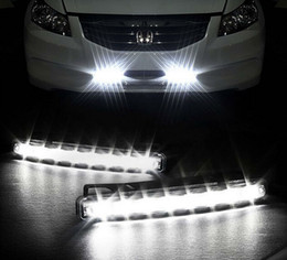Wholesale Daytime Running Lights Audi - Wholesale-Free shipping 2PCS pair Universal Car Light Super White 8 LED DRL Daytime Running Light Auto Head Lamp Super White 12V Lamp DRL