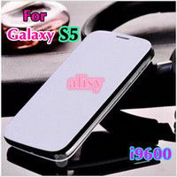 Wholesale Galaxy S Battery Case - For Samsung Galaxy S5 S 5 SV I9600 9600 Original Flip Leather Back Cover Cases Battery Housing Case Holster
