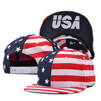Wholesale Hiphop Hat Usa - The new color embroidery USA USA flag flat hat men and women fashion hiphop hat