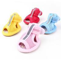 büyük köpek ayakkabıları toptan satış-Marka Yaz Kış Koruyucu Küçük Orta Büyük Köpekler Kediler Için Pet Ayakkabı Su Geçirmez Nefes Örgü Patik Çorap Çizmeler Sandal Set