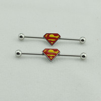 Wholesale Superman Ear Tunnels - OP-1 Pair 1.6mm Yellow Color Stainless Steel Tunnels and Plugs Superman Industrial Barbell Body Ear Piercing Jewelry Earrings LD36
