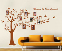 Wholesale Large Picture Frame Sticker - Free Shipping Large Brown Photo Picture Tree Frame Wall Sticker Decor Removable Vinyl PVC Home Decal For Bedroom Living Room