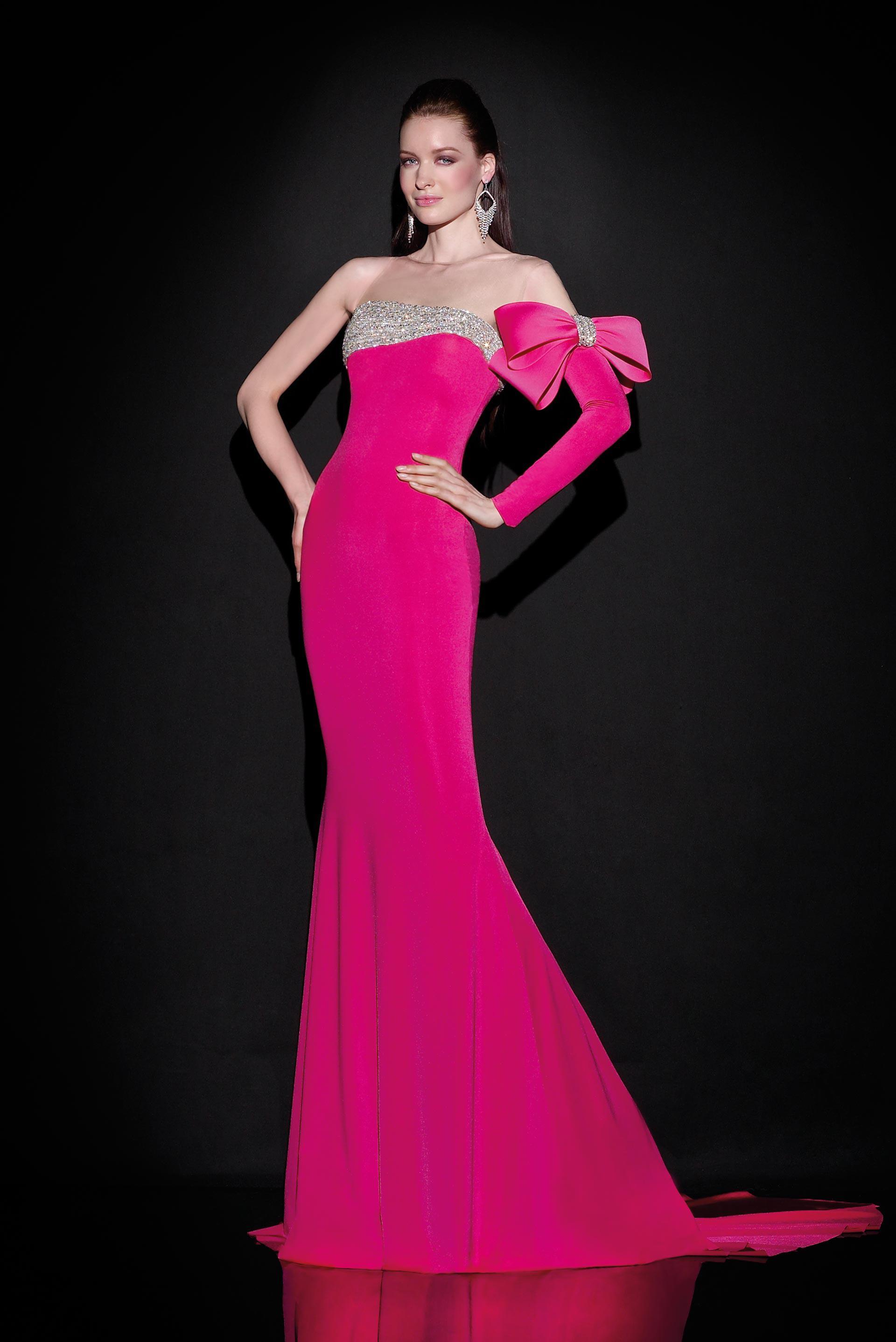 2015 Hot Pink Velvet Pageant Prom Dress Sheer Bateau Neck One Long ...