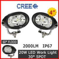 """Wholesale cree led motorcycle driving lights - 2PCS 4"""" 20W CREE LED Work Light Bar Driving Off-Road SUV ATV 4WD 4x4 Spot   Flood Beam 2000lm IP67 9-60V JEEP Motorcycle Fog Headlamp Oval"""