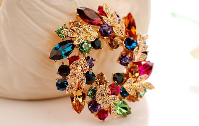 Wedding gemstone brooch rhinestone crystal gold alloy flower brooches pins Christmas pins clips dress scarf tie pin women charm jewelry
