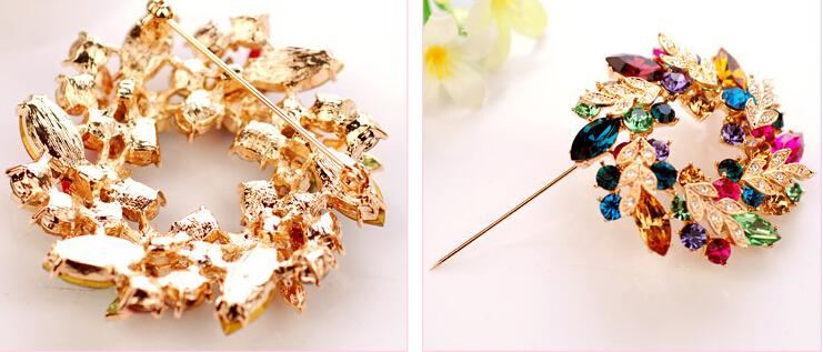 Wedding gemstone brooch rhinestone crystal gold alloy bouquet brooches pins Christmas pins clips dress scarf tie pin women charm jewelry hot