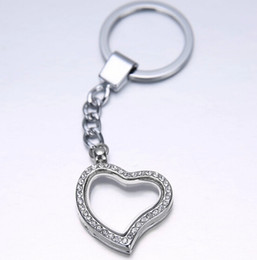 Wholesale Personalized Heart Charms - 20pcs lot Rhinestones Heart Glass Memory Floating charm lockets DIY Personalized fashion Key Chain