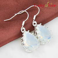 Wholesale Blue Moonstone Earrings - Luckyshine Two pieces lot 925 silver plated unique water drop oval Moonstone Glass crystal earrings for lady party gift