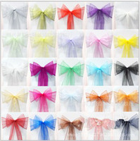 Wholesale chair cover sashes flower resale online - 18 cm Organza chair cover sashes sash sashe bow wedding banquet