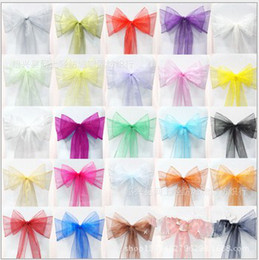 Wholesale Wholesale Flower Chair Covers - 18*275cm Organza chair cover sashes sash sashe bow wedding banquet