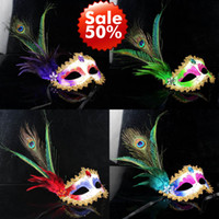 Wholesale Masquerade Peacock - Women Girls Peacock Feather Masks gold Crystal embellished lace mask Masquerade Mask Mardi Gras Masks Party Masks 6 Color 20 pcs   Lot