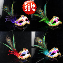 Wholesale Peacock Feather Masquerade Masks - Women Girls Peacock Feather Masks gold Crystal embellished lace mask Masquerade Mask Mardi Gras Masks Party Masks 6 Color 20 pcs   Lot