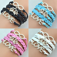Wholesale Jewellery Silver Bracelets - Fashion Antique Diamonds Charm Crown Love Infinity Mix 4 Colors Weave Leather Bracelets Fashion Bracelets Jewellery 10pcs Free Shipping