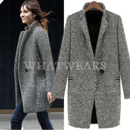 Discount Fashion Womens Wool Coats One Button Big Lapel Wool Blend ...