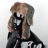 Wholesale Earflap Hat Women - Men Women Winter Russian Trapper Bomber Aviator Trooper Earflap Snow Ski Hat Cap