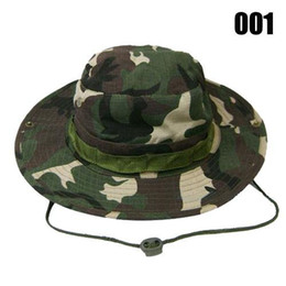 Wholesale Military Ship Models - Camouflage Military Boonie Sun Fishing Wide Brim Bucket Camping Hunting Hat ,free shipping and 4 model avaivable