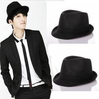 ingrosso cappelli nero fedora per le donne-Europa e trendsetter Jazz stile British uomini-donne alla moda generale all-partita nero cappello Homburg cappello caps borsalini MZ006