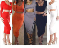 Wholesale Two Piece Bodycon Pencil Skirt - High Waist Pencil Skirt And Crop Top gowns Two Piece Set G6259 European Women Pencil Dress 2pcs Bodycon Long Sleeve Crop Top and Skirt Set