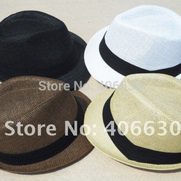 Straw Hat Trilby Canada - Unisex summer mens straw fedora hats & caps, trilby hat, 6 Colors, 12pcs lot, free Shipping by China post