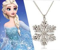 Wholesale Crystal Jewelry For Kids - Frozen Elsa Rhinestone Snowflake Pendant Necklace Crystal Cartoon Necklace For Children Kids Movie Jewelry High Quality