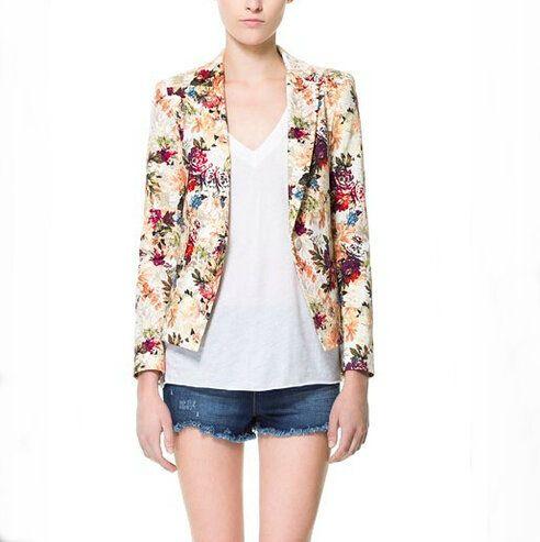 CT760 Nueva moda para mujer Elegante estampado floral OL Blazer abrigo con un solo botón de manga larga outwear casual slim brand tops de diseñador