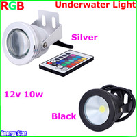 Wholesale Underwater Led Rgb - NEW Arrival!! Aluminum Adjustable RGB LED Underwater Light LED 10W 12V Aquarium Fountain Pool Light IP68 Waterproof With Remote Controller