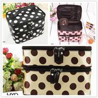 Wholesale Retro Toiletry Bag - Wholesale-Women Retro Dot Beauty Case Makeup Set Large Cosmetic Tool Storage Toiletry Bag
