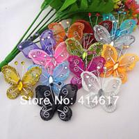 Wholesale Organza Rhinestone Butterflies - Wholesale-100Pcs Mixed Organza Wire Rhinestone Butterfly Wedding Decorations For Scrapbook