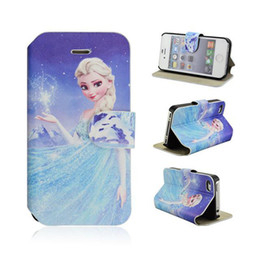 Wholesale Iphone 4s Cartoon Flip Case - Frozen Gril Snow Queen PU Leather shell case for iphone4 4s 5 5s with stand cartoon flip cover New style High quality Fashion