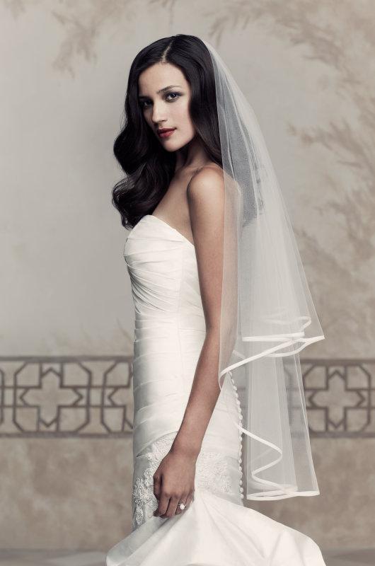 Dernier Style Pas Cher Court Mariage Voiles Blanc Tulle Satin Edge 1 Tier Voile De Mariée En Gros Accessoire De Mariage