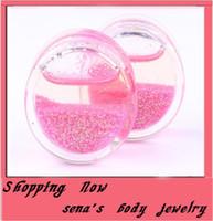 Wholesale Liquid Glitter Plugs - 60pcs mix 6-16mm Pink liquid Glitter Ear Flesh tunnel body jewelry piercing ear plug tunnel